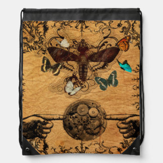 Grunge Steampunk Victorian Butterfly Drawstring Bag
