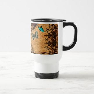 Grunge Steampunk Victorian Butterfly Travel Mug