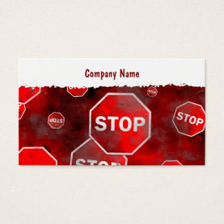 Grunge Stop Signs, Company Name Business Card