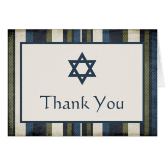 Grunge Stripes Bar Mitzvah Thank You Card