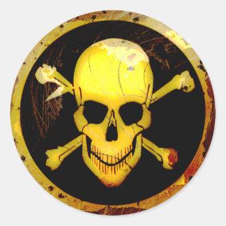 Grunge Style Gold Skull and Crossbones Round Sticker
