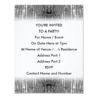 "Grunge Style, Gray Abstract. 4.25"" X 5.5"" Invitation Card"