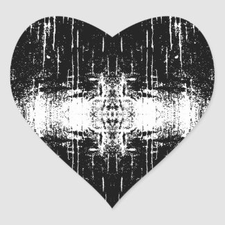 Grunge Style Monochrome Abstract. Heart Sticker