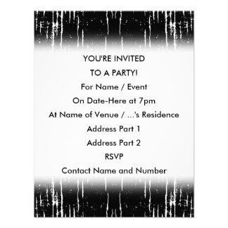Grunge Style Monochrome Abstract Personalized Invites
