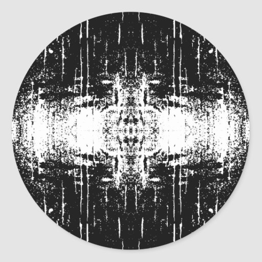 Grunge Style Monochrome Abstract. Round Stickers