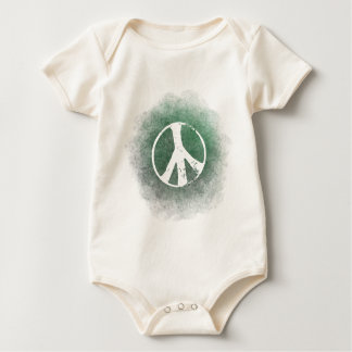 Grunge Style Peace Symbol Baby  Organic Baby Bodysuit