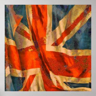 Grunge Style Union Jack British Flag Illustration Poster