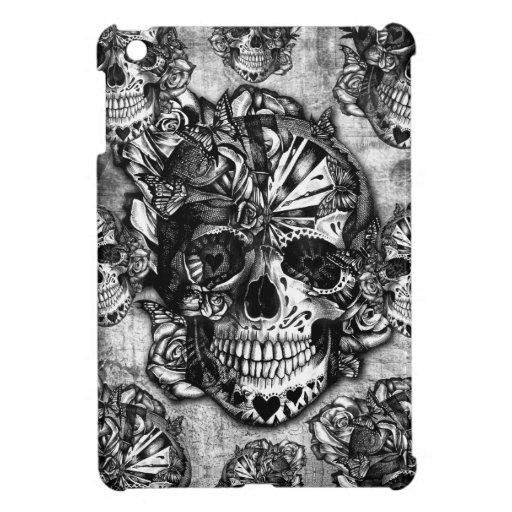 Grunge sugar skull pattern cover for the iPad mini