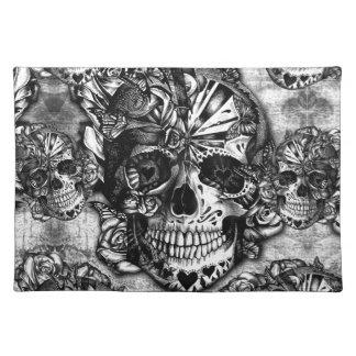 Grunge sugar skull pattern placemat