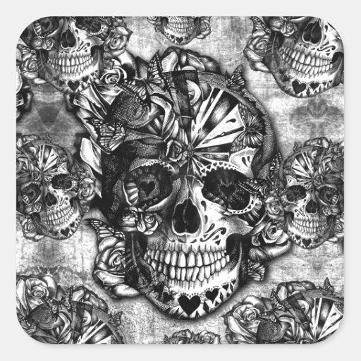 Grunge sugar skull pattern square stickers