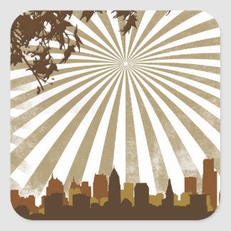 Grunge Sunburst Square Stickers
