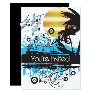 Grunge Surfing Beach Surfer Birthday Party Invite