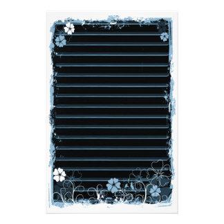 Grunge Swirl Flowers Lined Stationery Black Blue