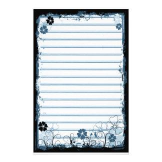 Grunge Swirl Flowers Lined Stationery White Blue
