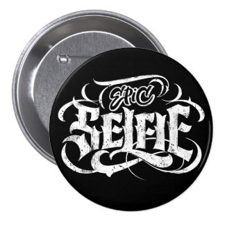 Grunge Tattoo Lettering Epic Selfie Black Button