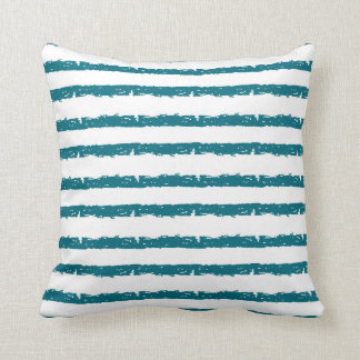 Grunge Teal and White Stripes Decorator Pillow