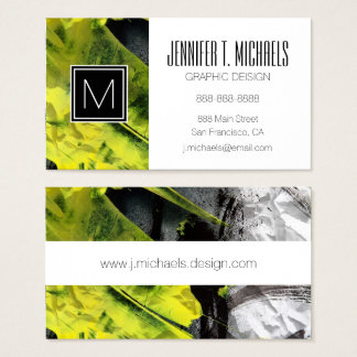 Grunge texture expressive brush strokes business card