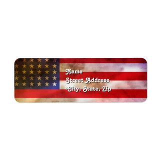 Grunge Textured American Flag Return Address Label