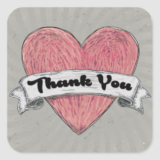 Grunge Thank You Pink & Gray Heart Stickers Seals