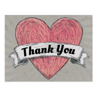 Grunge Thank You Red & Gray Heart Postcard