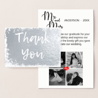 Grunge Torn Thank You Wedding Gift 4 Photo Collage Foil Card