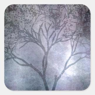 Grunge Tree Square Sticker