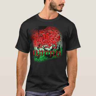 Grunge TShirt With Welsh Dragon And Cymru