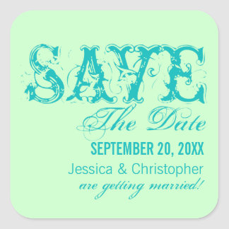 Grunge Typography Save the Date Stickers, Aqua Square Sticker