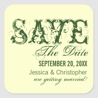 Grunge Typography Save the Date Stickers, Green Square Sticker