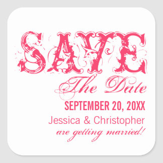 Grunge Typography Save the Date Stickers, Hot Pink Square Sticker