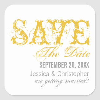 Grunge Typography Save the Date Stickers, Yellow Square Sticker