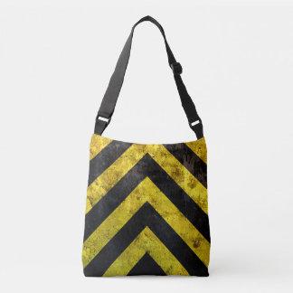 Grunge under construction stripes crossbody bag