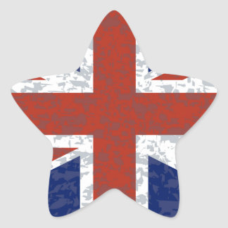 Grunge Union Jack Flag Star Sticker