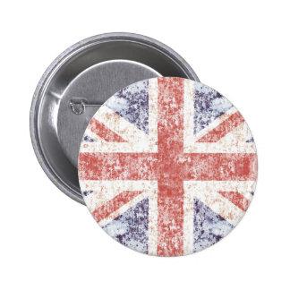 Grunge Union Jack - light pin button