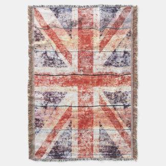 Grunge Union Jack on rustic wood Throw Blanket