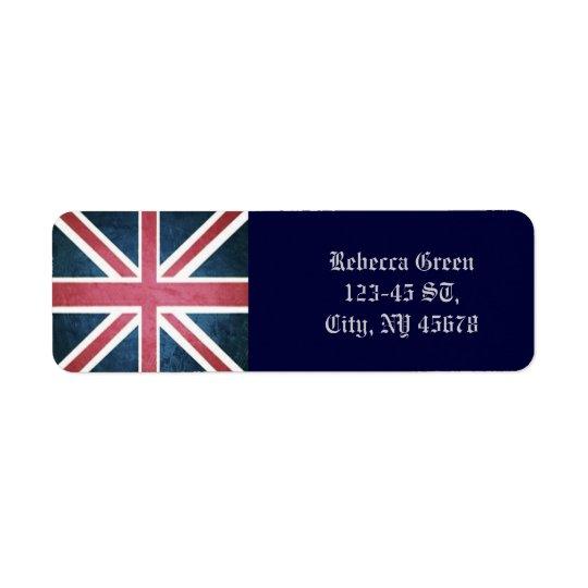 Grunge United kingdom british union jack flag Return Address Label