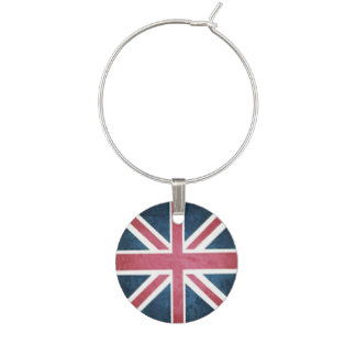 Grunge United kingdom british union jack flag Wine Glass Charms