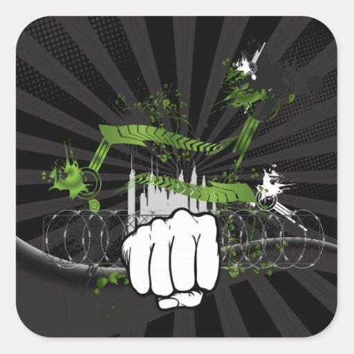 Grunge Urban Fist - Urban Warrior Sticker
