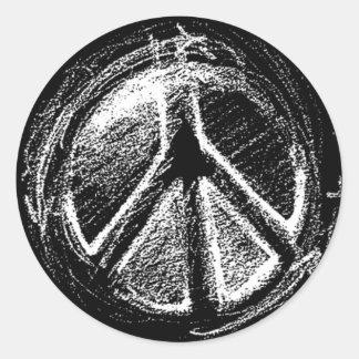 Grunge Urban Peace Sign Sketch Round Sticker