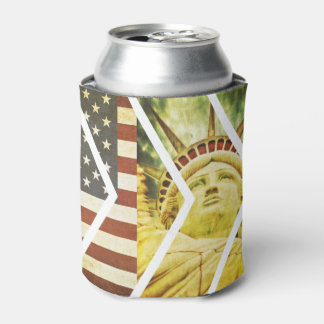 Grunge USA Flag Statue of Liberty Chevrons Can Cooler