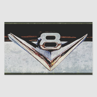 Grunge V8 Big Block Emblem Rectangular Sticker