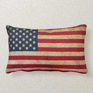 Grunge Vintage American flag USA Lumbar Cushion