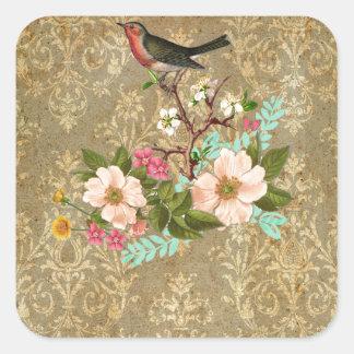 grunge vintage damask floral bird victorian brown square sticker