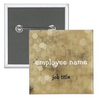 Grunge Vintage Employee Name Tag Button