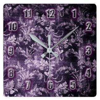 Grunge vintage floral pattern in cool dark purple square wall clock