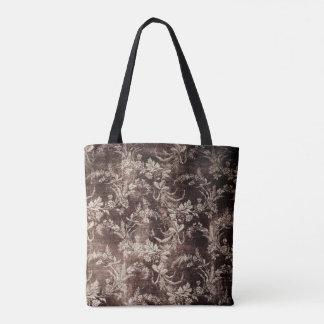 Grunge vintage floral pattern in dark brown tote bag
