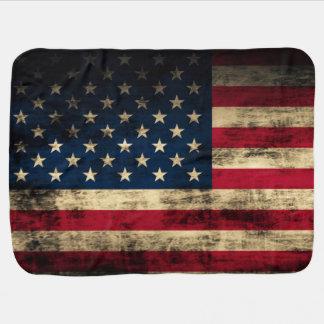 Grunge Vintage Looking Patriotic American Flag Baby Blanket