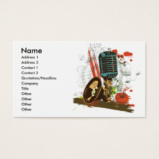 grunge vintage microphone vector business card