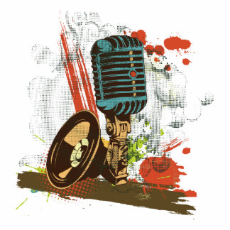 grunge vintage microphone vector standing photo sculpture