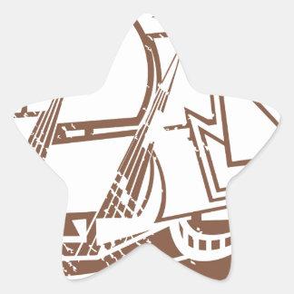 Grunge Vintage Ship Star Sticker